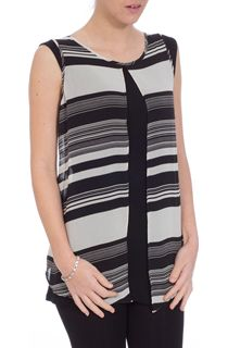 Double Layer Monochrome Strip Sleeveless Chiffon Top