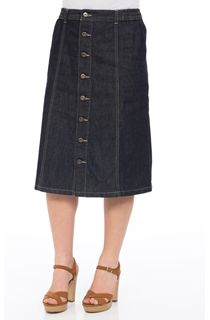 Button Front Denim Midi Skirt