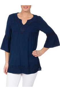 Embroidered Fluted Sleeve Top