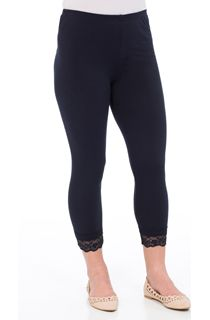 Cropped Lace Trim Leggings - Blue
