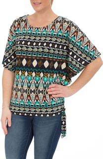 Ethnic Print Short Sleeve Jersey Top