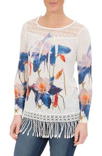 Floral Print Crochet Trim Top