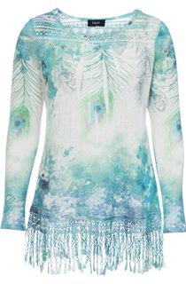 Feather Sublimation Print Crochet Trim Top