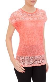 Lace Trim Short Sleeve Jersey Top - Orange