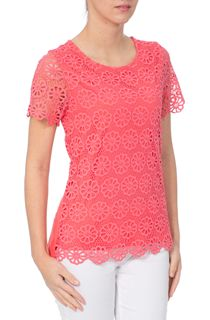 Anna Rose Floral Layer Crochet Short Sleeve Top - Orange