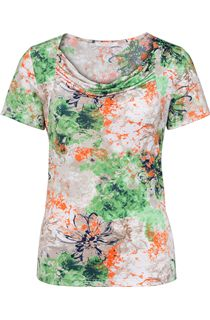 Anna Rose Printed Cowl Neck Top