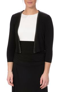 Embellished Three Quarter Sleeve Cover Up - Black