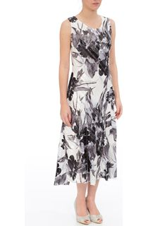 Anna Rose Bias Cut Floral Sleeveless Dress - Black/Ivory