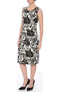 Anna Rose Printed Linen Blend Shift Dress
