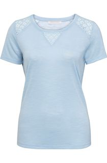 Anna Rose Crochet Trim Short Sleeve Top - Blue