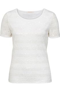 Anna Rose Short Sleeve Lace And Sequin Top