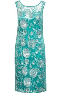 Sequin And Lace Sleeveless Midi Dress - Aqua