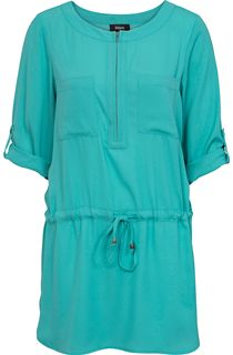 Zip Front Three Quarter Sleeve Tunic - Jade