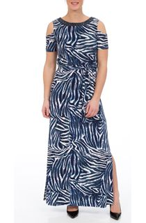 Cold Shoulder Printed Maxi Dress