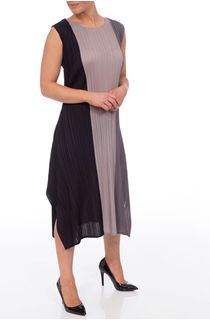 Sleeveless Colour Block Pleated Dress