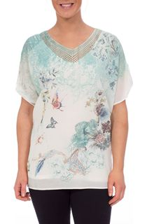 Summer Garden Embellished Short Sleeve Top