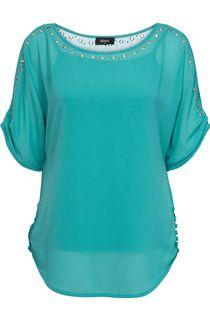 Eyelet Split Sleeve Chiffon Top - Jade