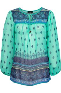 Long Sleeve Border Print Top - Jade