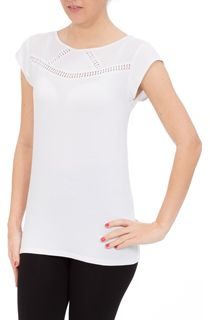 Short Sleeve Crochet Trim Top - White