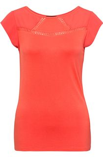 Short Sleeve Crochet Trim Top - Coral