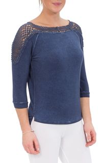 Crochet Trim Three Quarter Sleeve Top