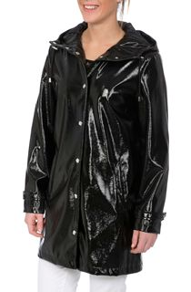 Shiny Textured Hooded Coat