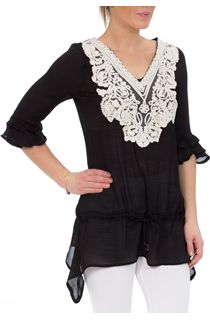 Three Quarter Ruffle Sleeve Tunic - Multi