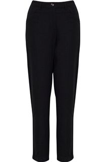 Straight Leg Linen Blend Trousers - Black