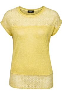 Lace Trim Short Sleeve Jersey Top - Lime
