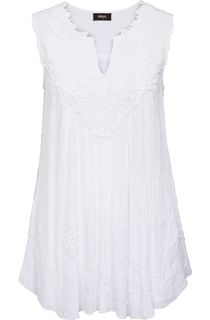 Sleeveless Crochet Trim Top - White