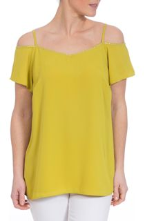 Diamante Trim Cold Shoulder Double Layer Top