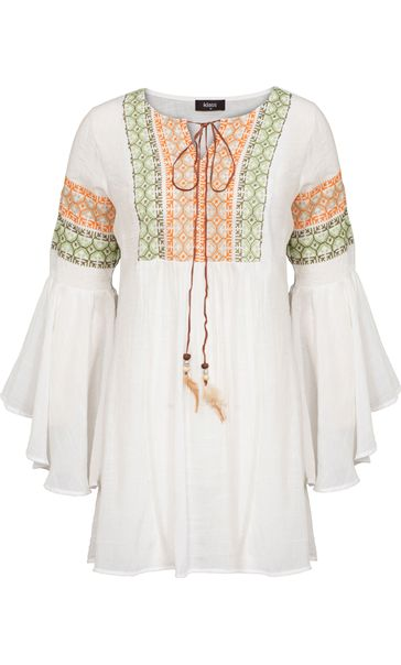 Embroidered Bell Sleeve Boho Top