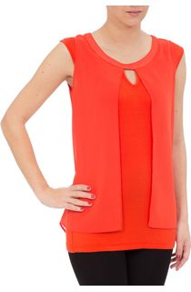 Sleeveless Jersey And Georgette Layered Top