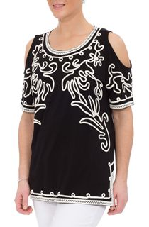 Cold Shoulder Monochrome Tapework Top