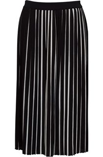 Monochrome Stripe Pleated Midi Skirt