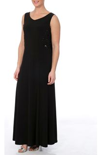 Sleeveless Embellished Drape Maxi Dress