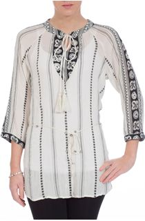 Printed Crepe Peasant Top