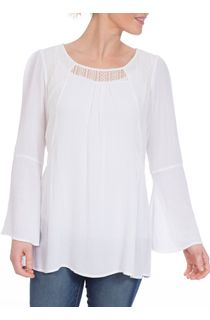 Lace Trim Flute Sleeve Boho Top