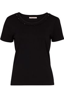 Anna Rose Short Sleeve Jersey Top - Black