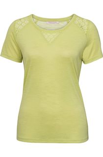 Anna Rose Crochet Trim Short Sleeve Top - Lime