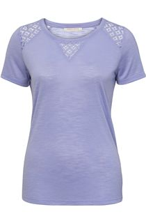 Anna Rose Crochet Trim Short Sleeve Top - Lavender