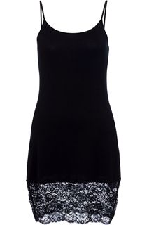 Longline Lace Hem Strappy Top - Black