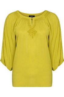 Round Neck Boho Crinkle Top - Lime