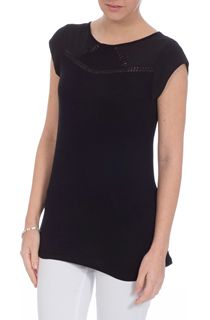 Short Sleeve Crochet Trim Top - Black