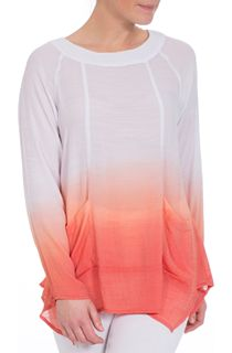 Long Sleeve Dip Dye Tunic - Orange/White