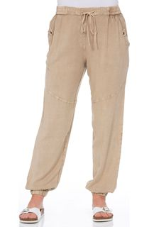 Elasticated Waist Lightweight Trousers - Beige