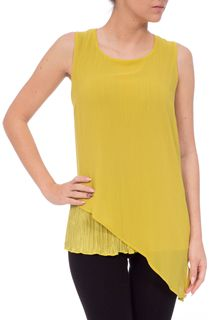 Sleeveless Shaped Hem Chiffon Layer Top - Green
