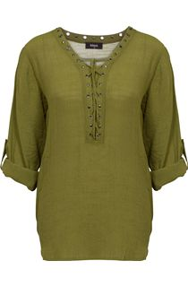 Tie Front Turn Sleeve Crinkle Top - Khaki