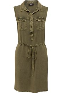 Sleeveless Washed Tunic - Khaki