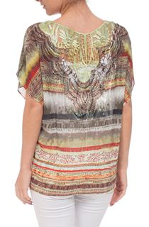 Tribal Print Embellished Georgette Top - Khaki/Green